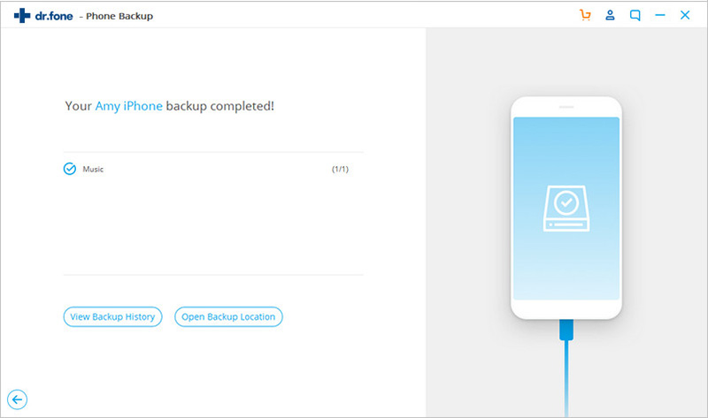iphone backup step 3 - backup completed